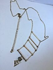 Gold Chain Designer Inspired Triangle Shape Charm and Ladder Necklace