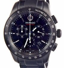 New Mens Authentic Swiss Movado 2600107 Series 800 Chronograph Black PVD Watch