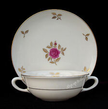 Lenox China RHODORA Cream Soup Bowl /s & Liner Two Handles Bouillon Cup