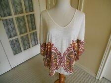 INC tunic top shirt white w pink ikat pattern batwing kimono poncho slv boho XL