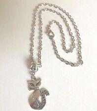 collier chaine argenté 46 cm avec pendentif chat 25x16mm