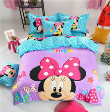 "Disney Carton Minnie Quilt Cover Set Bedding 4PCS Queen Size 6"" Girls Gift"