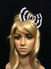 """6"""" Black & White beetlejuice stripes hair bow. Ascot. Pin up. Rockabilly. Goth."""
