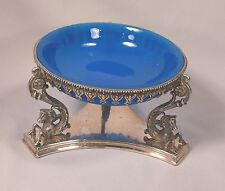 Antique Silver Plated Seahorse Stand  with Opaline Glass Bowl Insert