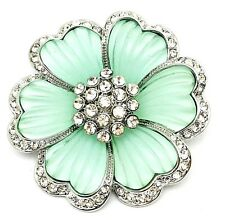 Melania Trump Jewelry Teal Flower Brooch Pin with Stones/Frosted Glass Petals