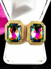 RARE SCHIAPARELLI GOLD-TONE WATERMELLON TOURMALINE HELIOTROPE HEXAGON EARRINGS