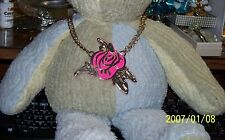 NWT Betsey Johnson 'Photo Etch' Hot Pink Rose Cut Out Gold Tone Chain Necklace