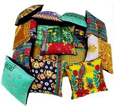 10 PC KANTHA VINTAGE PILLOW CUSHION COVER THROW Ethnic Decorative Indian Art