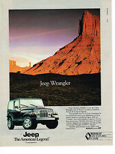 PUBLICITE ADVERTISING 054  1990  JEEP WRANGLER  4X4 THE AMERICAN LEGEND