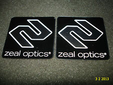 2 AUTHENTIC ZEAL OPTICS SUNGLASSES/GOOGLES SQUARE STICKERS #7 / DECALS AUFKLEBER