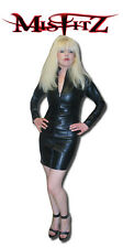 Misfitz black leather look zip front mistress dress,size 18 goth punk biker