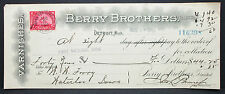 US Check National Bank Berry Brothers Detroit Documentary Stamp 1900 (H-6767+