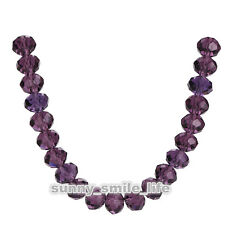 200Pcs Loose Violet Crystal Glass Faceted Rondelle Beads 4mm Spacer Findings