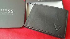 NEW GUESS BY MARCIANO GENUINE LEATHER PASSCASE BIFOLD BLACK WALLET