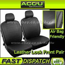 Plain Black Leather Look Airbag OK Friendly Car Front Seat Covers Set - Pair