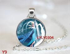 FROZEN PENDANT Cabochon Glass CHAIN NECKLACE ROYAL PRINCESS Anna & Elsa #Y009