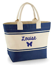 Personalised Ladies' canvas butterfly Beach Bag/Large shopper, navy or green