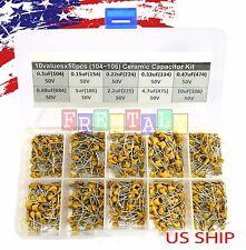 10 Types x 50 0.1uF~10uF (104~106) Monolithic Ceramic Capacitor Assorted kit box