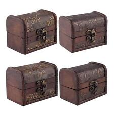 Vintage Small Wooden Lock Jewelry Necklace Bracelet Gift Storage Holder Box Case