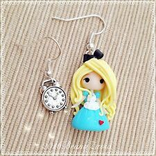 Orecchini Chibi Alice ~ Cute Disney Earrings Fimo Polymer Clay Kawaii tiny Time