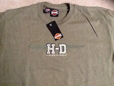 Harley Davidson embroidered H-D logo olive green Shirt  Nwt Men's Large