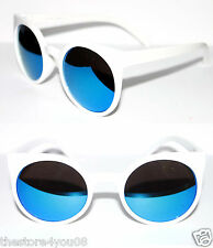 Women's Round Shape Super Sunglasses Future Lucia White Blue Revo Mirror Lens