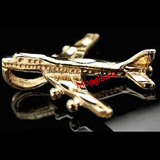 3D AEROPLANE 24k GOLD Layered Charm / Pendant + LIFETIME GUARANTEE