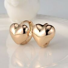 18k Yellow Gold Filled Earrings Women's Charm Heart Hoop Huggie GF Jewelry