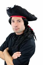 Carnival Pirate Set: Hut, Beard & long wig Braided Pigtails 68903