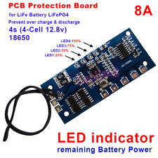 LiFePO4 8A Battery PCM Protection Board BMS with Capacity Display 4S 12.8V PCB A