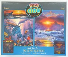 CEACO® 2 Pack 500pc SUNSET GLOW • CHRISTIAN RIESE LASSEN Jig Saw Puzzle OPEN BOX