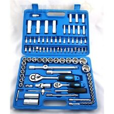 "Pro Quality 94 Pc 1/4 & 1/2"" Drive Chrome Vanadium Tool Socket & Ratchet Set DIY"