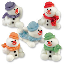 Sugar Snowmen 3D - Edible Sugar Christmas Cupcake Toppers / Cake Decoration
