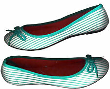 LIGHT TURQUOISE GREEN STRIPE PRINTED WHITE COMFY BALLET FLAT SHOES_S 9 /10