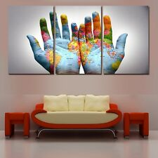 Modern Abstract Oil Painting Wall Decor Art Huge - Creative World Map 3pcs