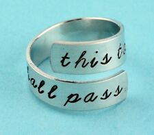 This Too Shall Pass Wrap Ring Adjustable Twist Aluminum Ring Hand Stamped Ring