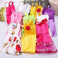 10PCS Handmade Poupées Vêtements Doll Dress Robe Clothes For Barbie Poupée