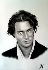 Johnny Depp - ritratto portrait grafite e carboncino cm. 33 x 48