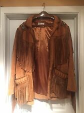 Mens Scully Fringed Leather Suede Western Jacket Coat Size XL