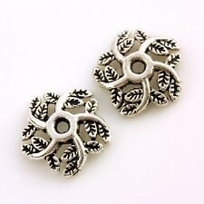 F1782*70Pc Tibetan Silver Leaves Foliage Floral End Beads Caps Connector Links