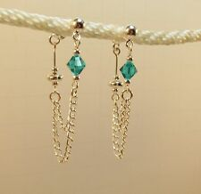 made with Blue Swarovski Crystal Double Chain Earrings loop to back