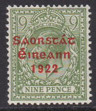 IRELAND, Scott #53: 9d, Mint, 1922-23 Thom Ovpt in Red