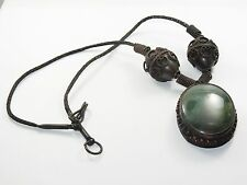 VINTAGE 60s TRIBAL TIBET SILVER NECKLACE & JADE PENDANT