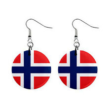 """New Norway Norwegian Flag 1"""" Button Earrings Free Shipping"""