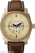 Fossil DE5015 Machine Gold Dial Leather Strap Men's Watch