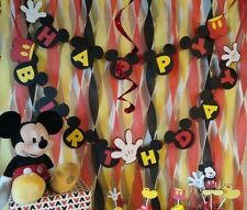Mickey Mouse Birthday Banner with Name Banner Custom Made in USA FREE SHIPPING