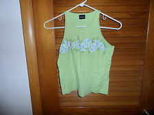 Junior lime green tank top size L (10-12) with purple violets from xhilaration