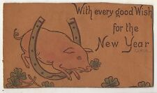 Every Good Wish for the NEW YEAR Pig and Horse Shoe Vintage LEATHER Postcard