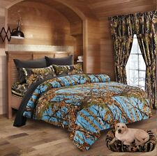 7PC KING POWDER BLUE CAMO COMFORTER AND BLACK SHEET SET HUNTER CAMOUFLAGE WOODS