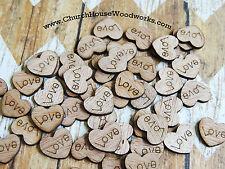 100 wooden love hearts rustic wedding, venue decor, confetti, invitations USA